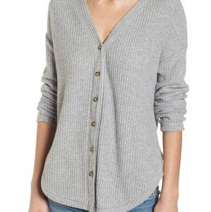 NWT Socialite Thermal Shirt Knit Button Down Gray
